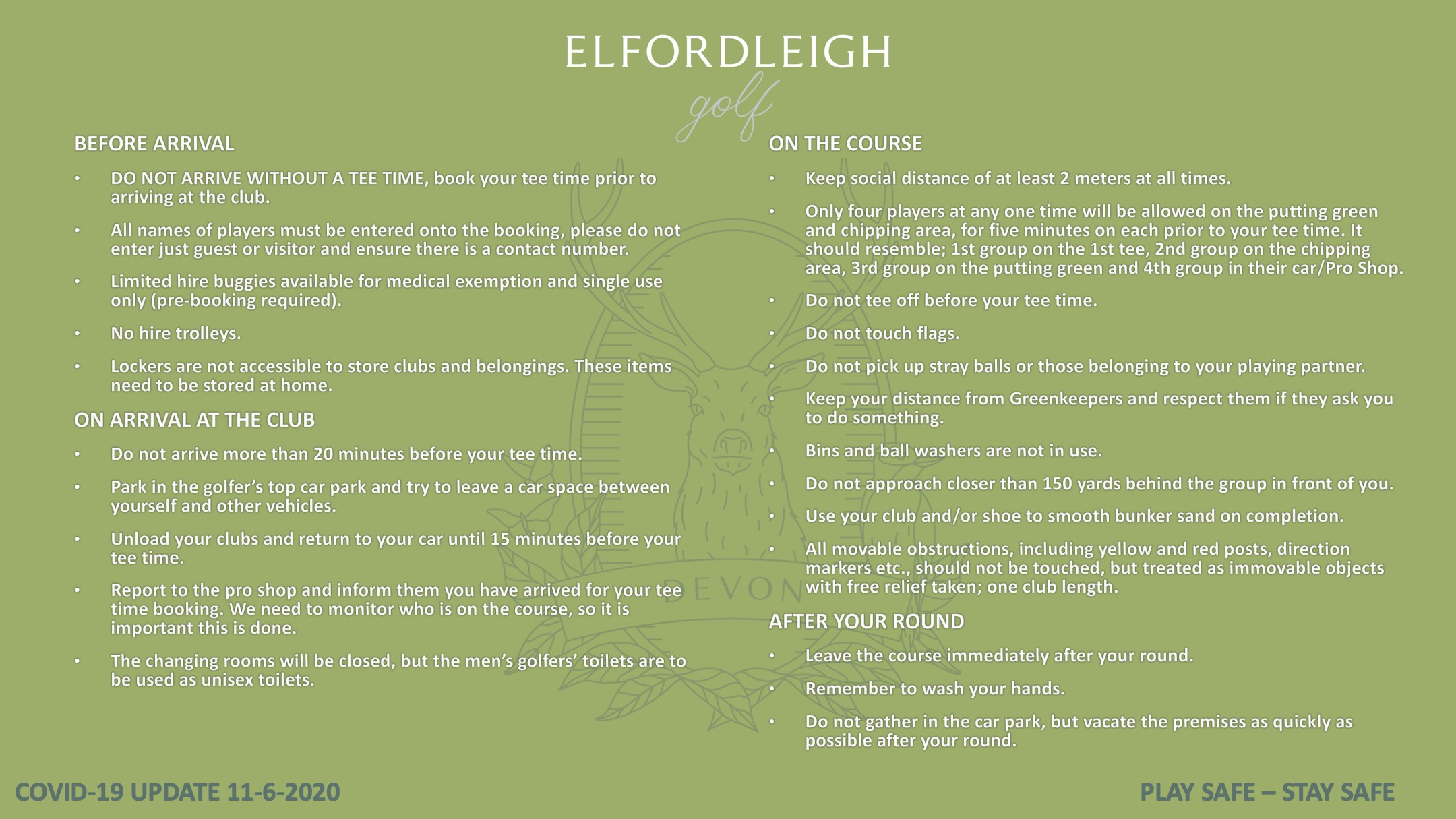 COVID-19 golf guidelines Elfordleigh 11-6-2020